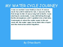 MY WATER CYCLE JOURNEY