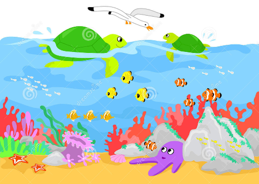 "Cartoon Seaweed Clipart ""Oceans & Und..."